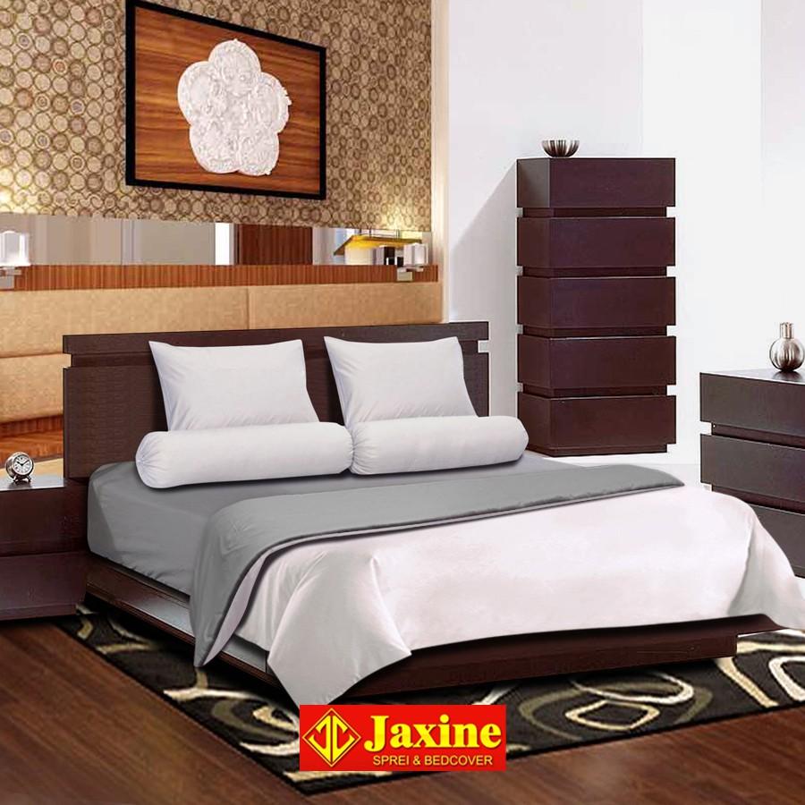 Jaxine Bedcover Set Katun Polos - Abu Mix Coklat   Bedcover Polos   Shopee Indonesia