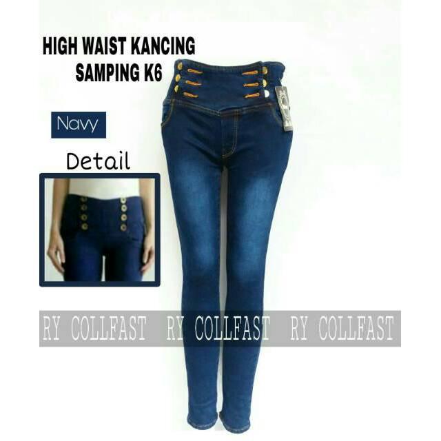 Celana Panjang Highwaist Jeans Wanita Kancing Banyak 5 Warna JSK JEANS   Shopee Indonesia