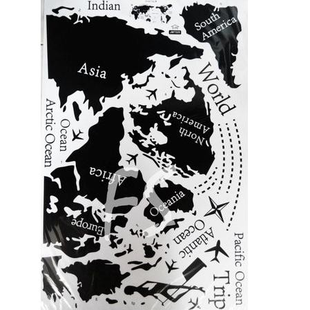 Em Stiker Dinding Wallpaper 60x90cm Motif Karakter Peta Dunia Globe Hitam Putih Traveling Adventure Shopee Indonesia