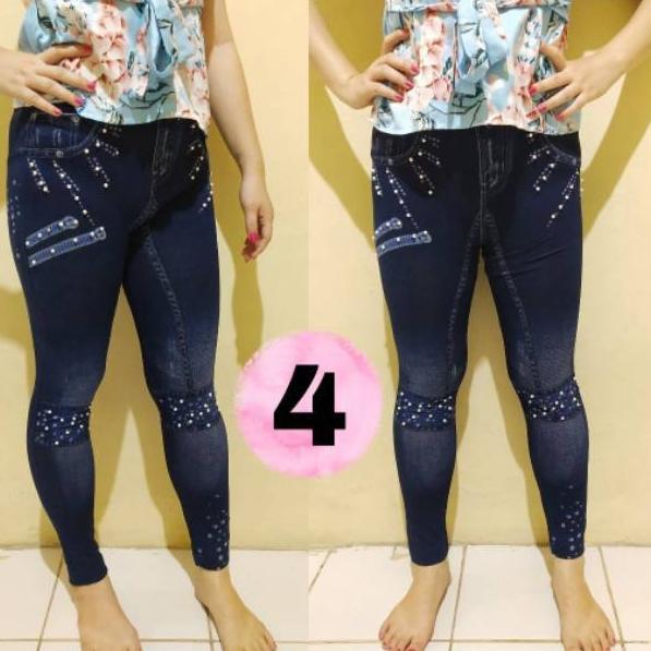 Rgep X0107 Legging Jeans Motif Sobek Variasi Pearl Mutiara Import Celana Bawahan Wanita Shopee Indonesia