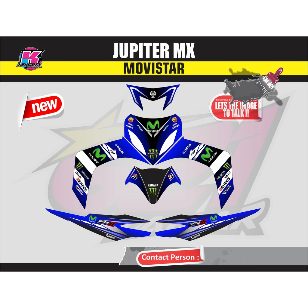 Sticker motor striping motor jupiter mx movistar shopee indonesia