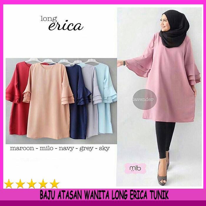 Atasan Wanita KAMILA TOP HITAM Blouse Wanita Baju Cewek Tunik Jumbo Fashion  Muslim  ff5d84ea09