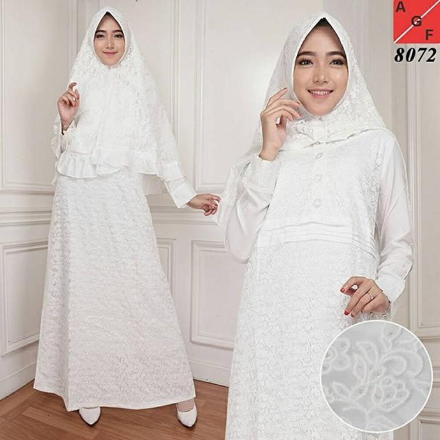 Baju Gamis Putih Busana Muslim Baju Muslim Wanita 8072 Shopee Indonesia