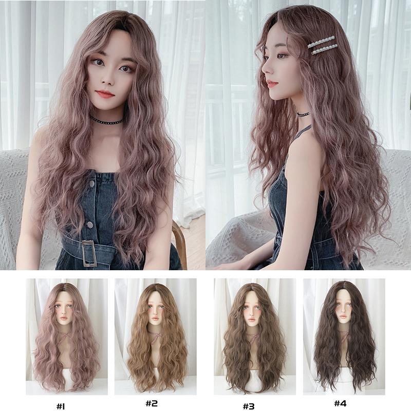 63cm Wig Rambut Palsu Wanita Model Panjang Keriting Gelombang Gaya Korea Untuk Cosplay Pesta Shopee Indonesia
