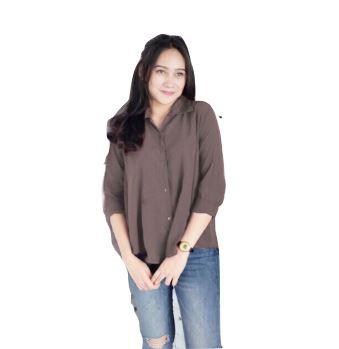 Kemeja Kantor Biru Elegan Wanita Musim Gugur Lengan Panjang Sifon Kasual Korea   Shopee Indonesia