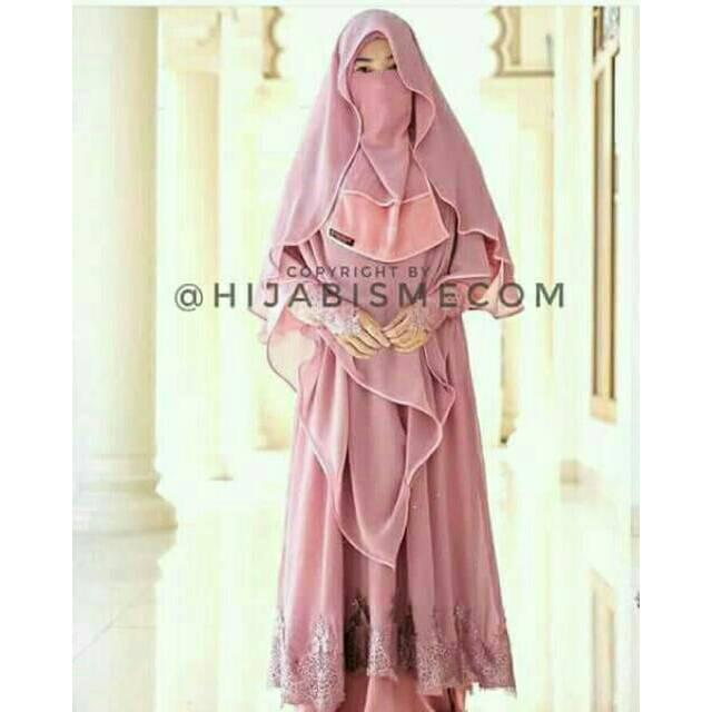 Gamis Almeraa Pink Merah Jambu Set Wedding Dress Gaun Pengantin