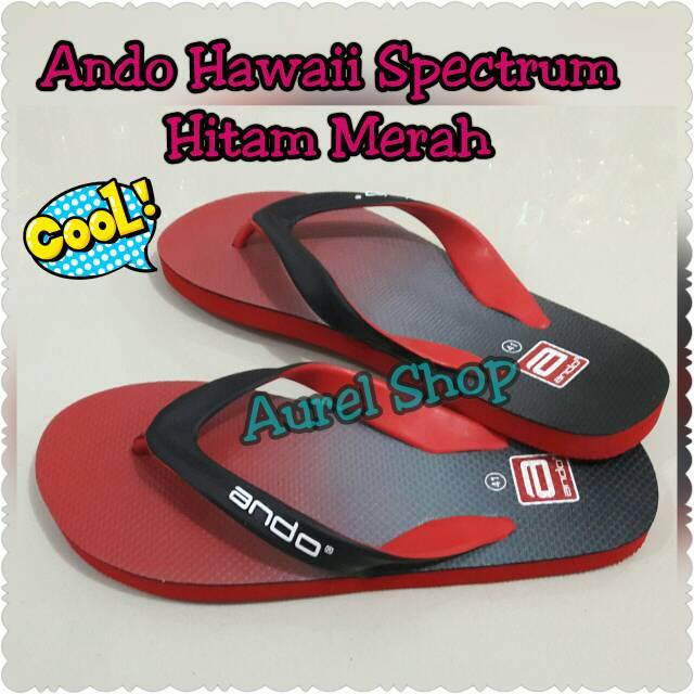 Ando Spectrum Hawaii Merah Hitam Sandal lcKJTF1