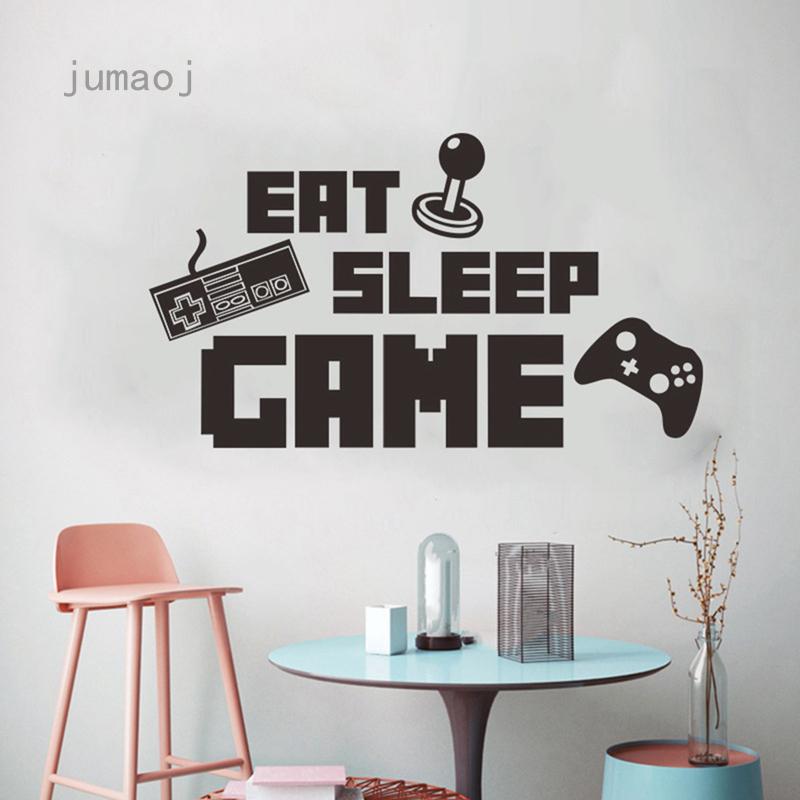 Jumaoj Stiker Dinding Desain Eat Sleep Game Untuk Ruang Tamu Kamar Tidur Shopee Indonesia