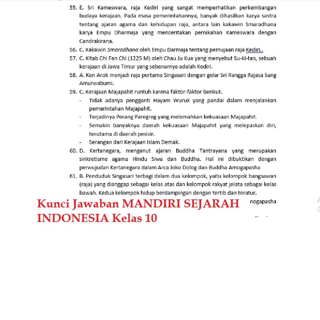 Buku Mandiri Erlangga Sejarah Indonesia Sma Kelas 10 K13 Soal Jawaban Shopee Indonesia