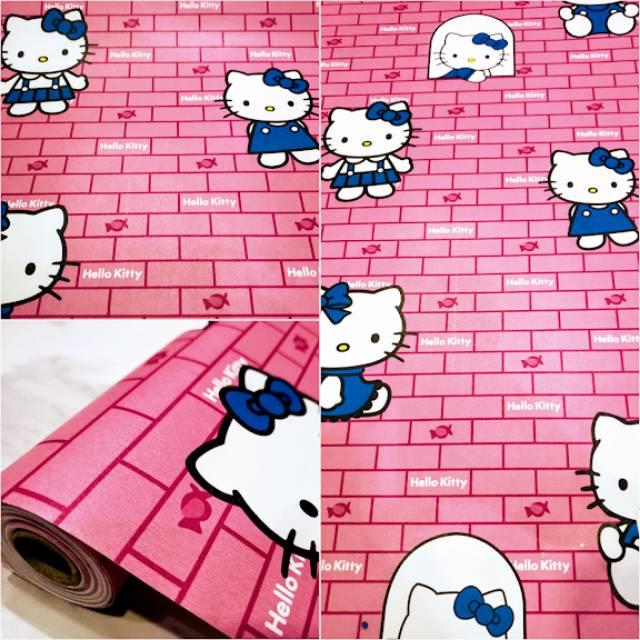 Grosir Murah Wallpaper Dinding Motif Kartun Hello Kitty Warna Pink Putih Biru Modern Shopee Indonesia