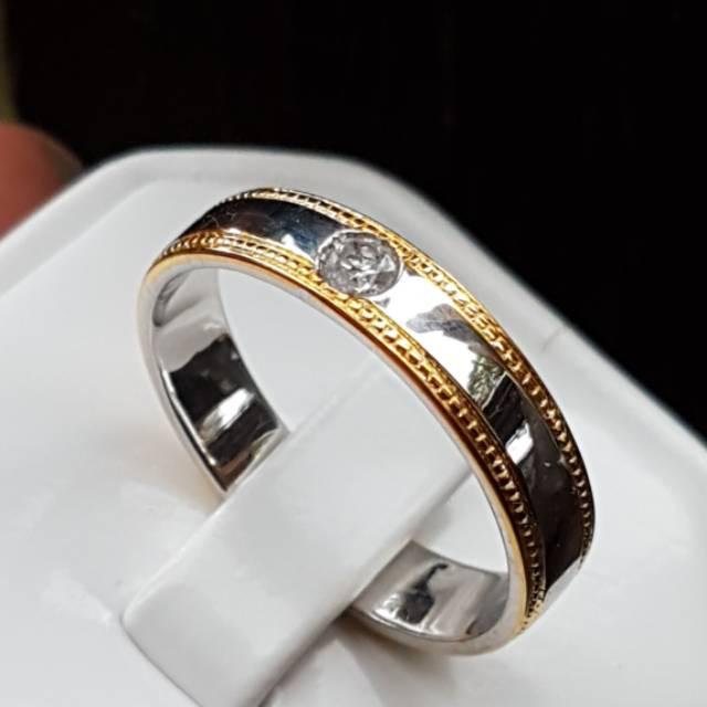 C666 Cincin perak solitaire intan berlian diamond asli natural no 13 atau 6 murah
