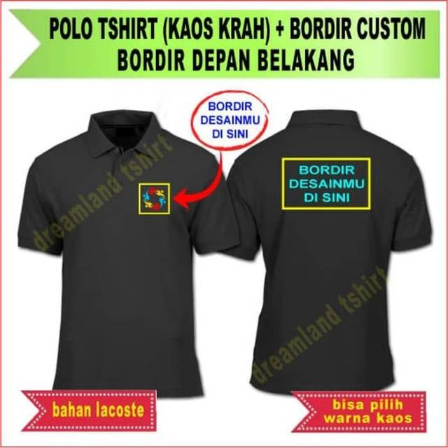 Kaos Polo Bordir Depan Belakang Lacoste Lakos Polo Shirt Kaos Kerah Shopee Indonesia