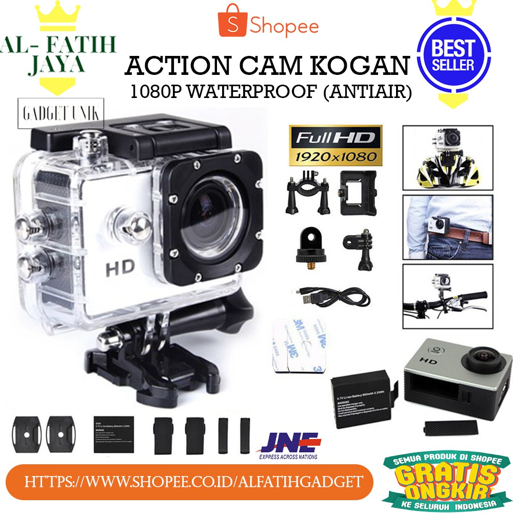 kamera vlog acition cam kogan 1080p murah berkualitas. Black Bedroom Furniture Sets. Home Design Ideas