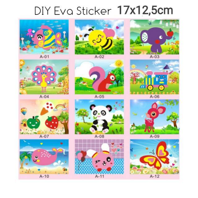 Mainan Kolase Menempel Diy Eva Sticker Seri A Shopee Indonesia