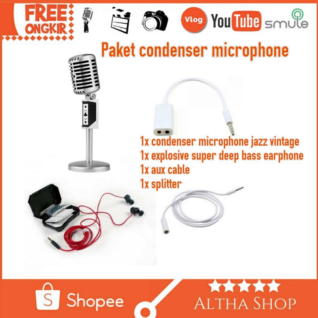 (SMULE karaoke)Condenser Microphones Proffesional Jazz Vintage - Silver | Shopee Indonesia