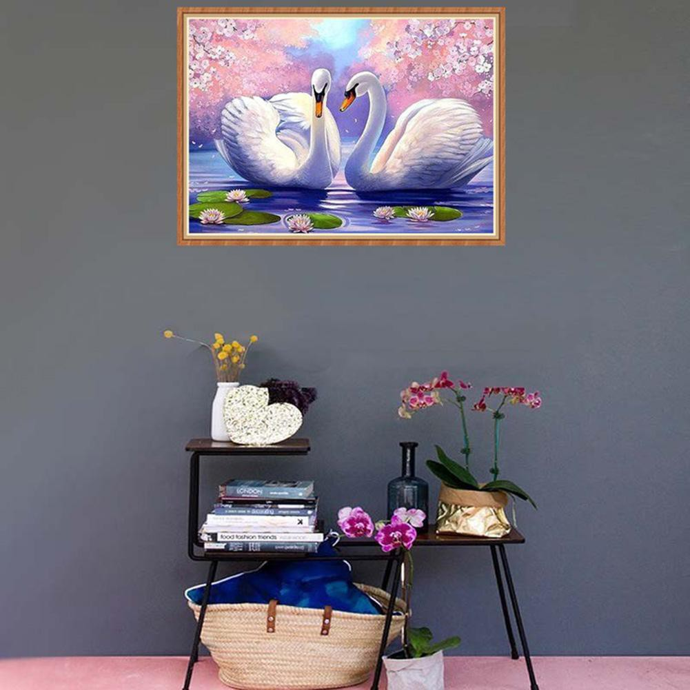 ♥『UPE』♥Two White Swans 5D Diamond Painting Embroidery