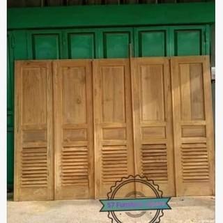 Pintu Garasi Rumah Kusen Mentahan Model Minimalis Jati Jepara Shopee Indonesia