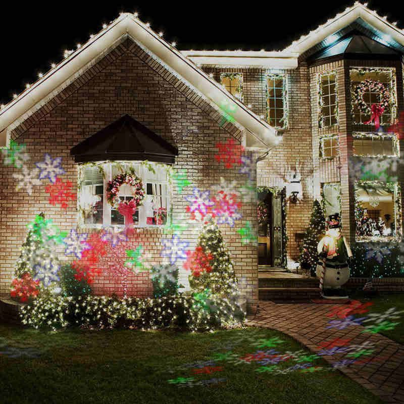 Lampu Proyeksi Laser Motif Snowflake Untuk Dekorasi Panggung Natal Taman Outdoor
