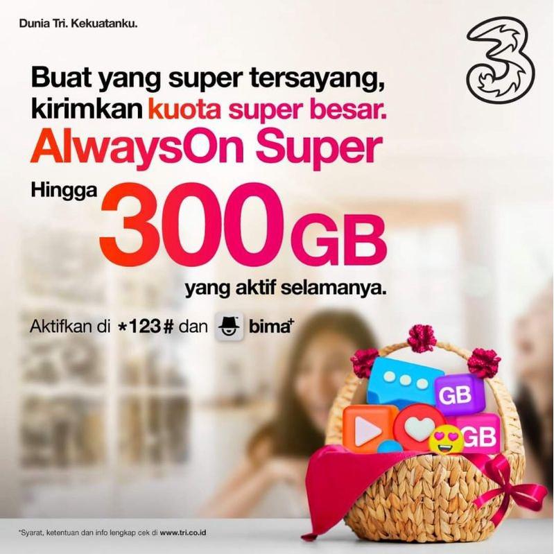 Kuota AON Super 50GB 80GB 150GB 300GB  Tri Three 3