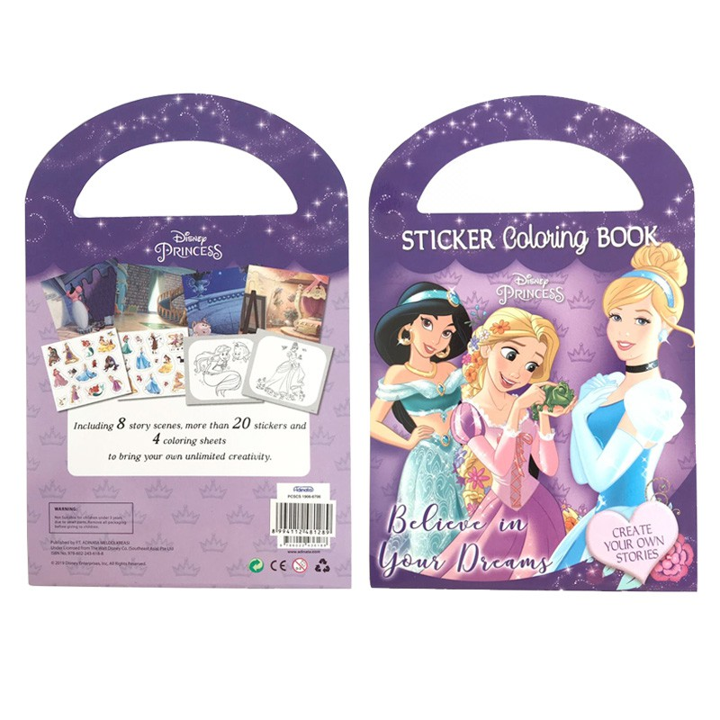 Sticker Coloring Book Disney Princess Shopee Indonesia