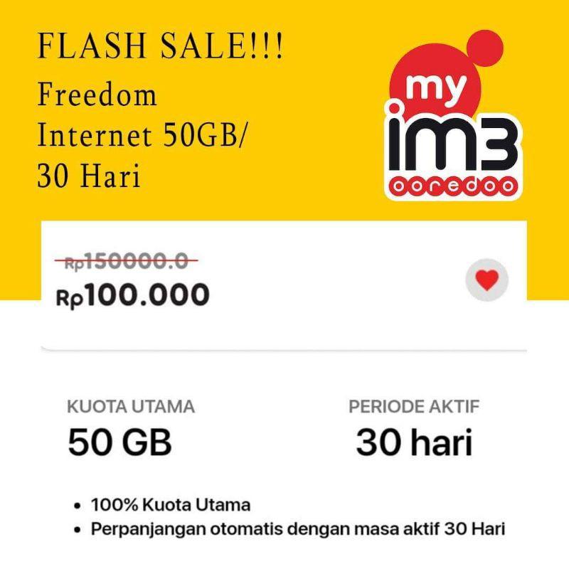 PROMO Paket Data Freedom Internet Indosat 50GB /30 Hari IM3