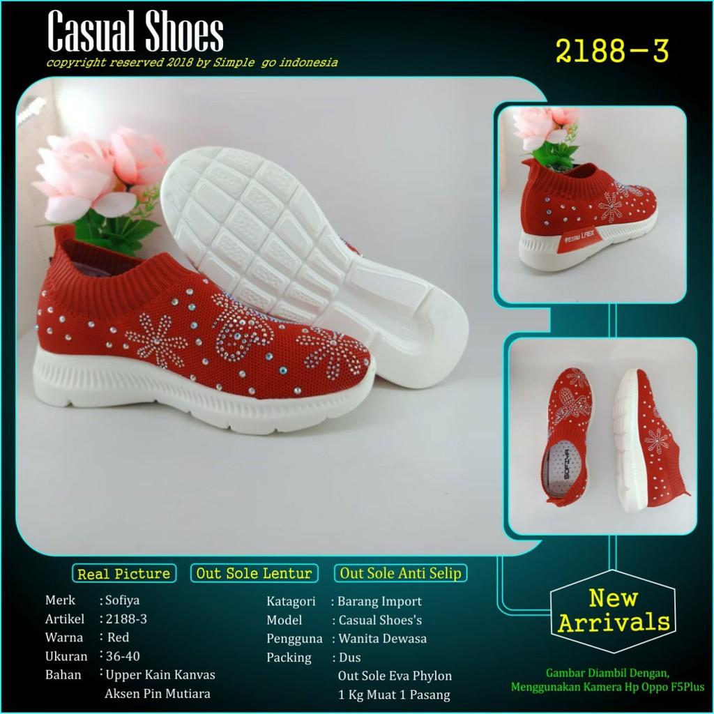 Habisin Stock Sepatu Wanita 2188 3 Merah Merek Sofiya Import 36