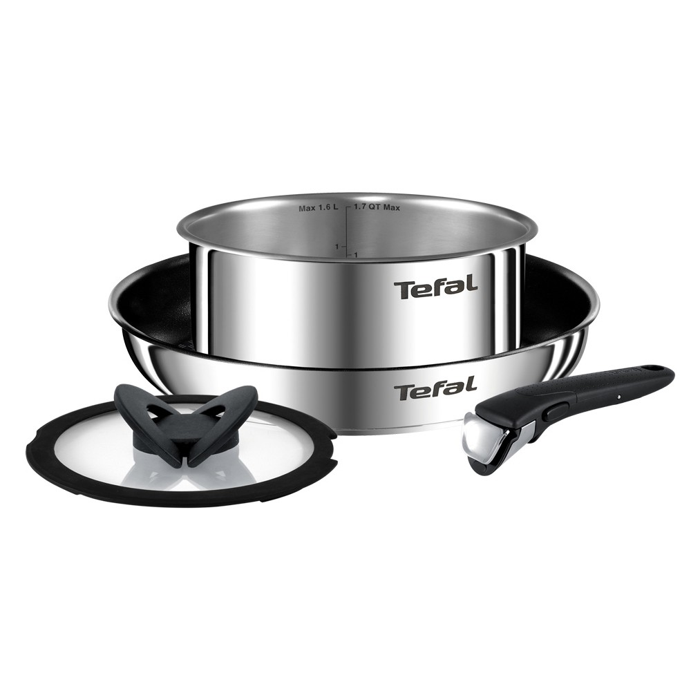 Tefal Ingenio Emotion Stainless Steel Nonstick Frying Pan Set Of 4 Pieces Dishwasher Oven Safe No Pfoa Thermo Spot Heat Indicator Silver Shopee Indonesia