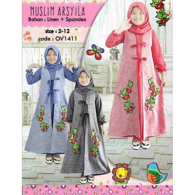 Gamis Dress syari muslim anak Ovella Arsyila