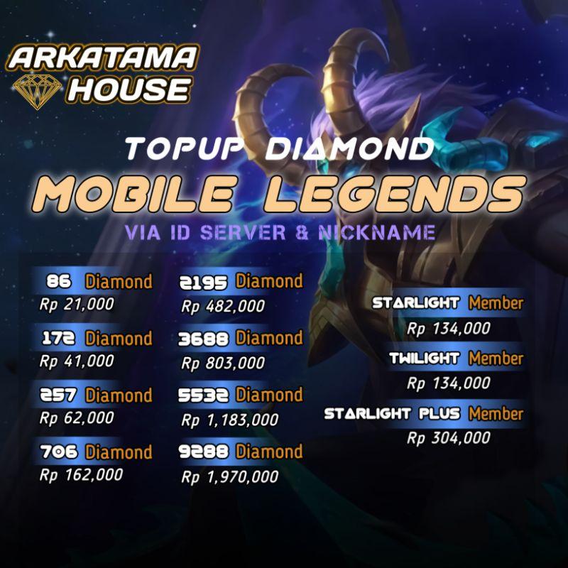 TOP UP DIAMOND MOBILE LEGENDS MURAH 86, 172, 257