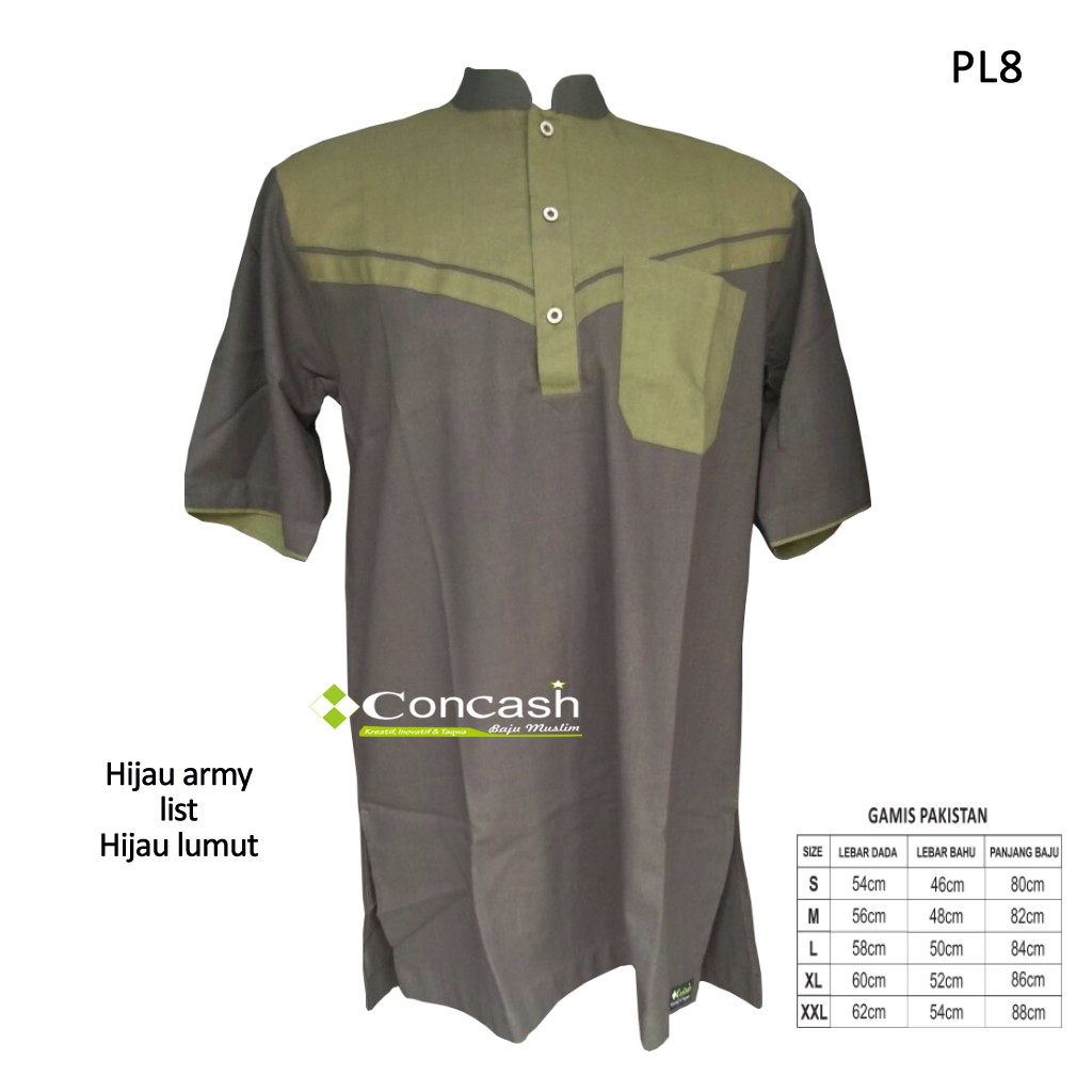 Concash Baju Koko Pakistan Pria Linen Warna Hijau Army Shopee