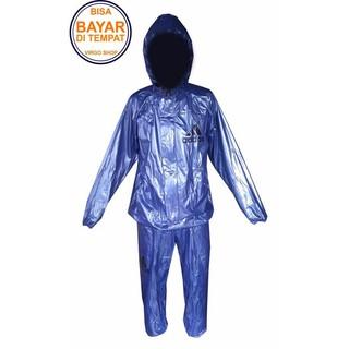 Jas Hujan Addidas Biru - Jaket Celana Biru