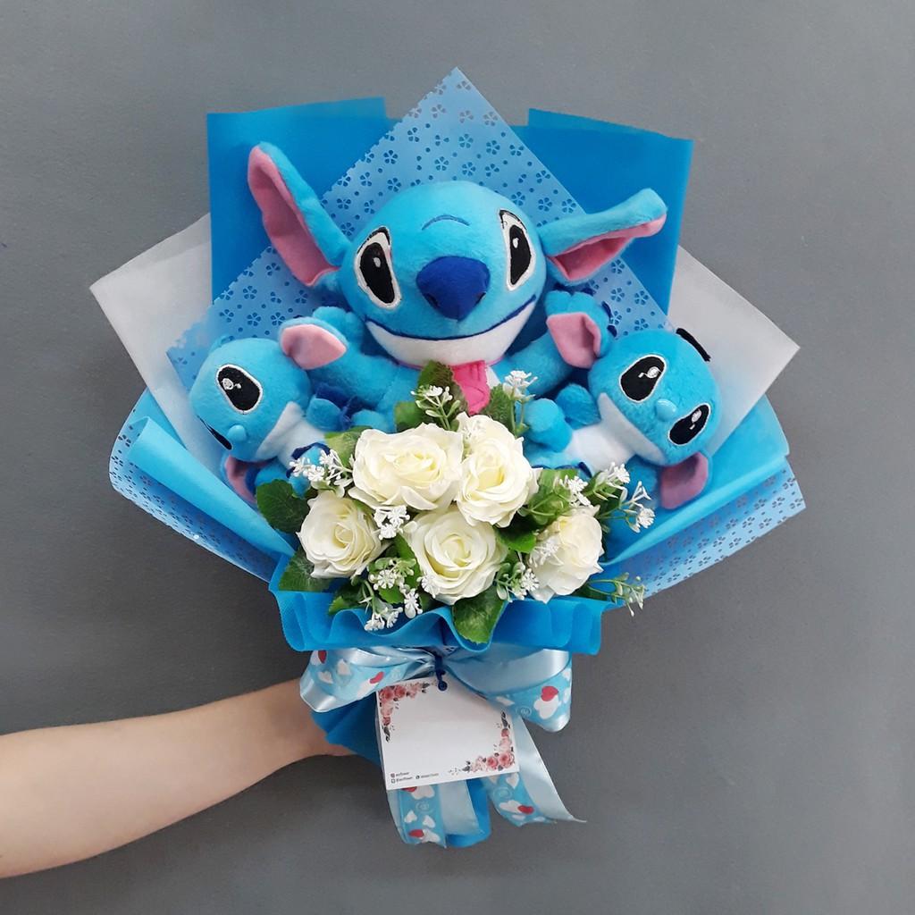 Buket Bunga Karakter Stitch Kado Valentine   Anniversary   Wisuda 124 S24  96b6a6c26b