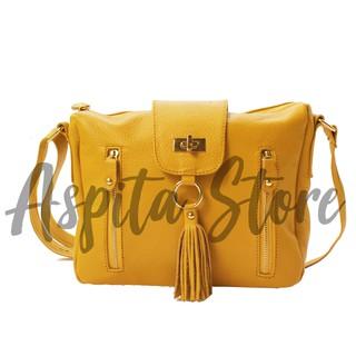 Tas Kulit Wanita Selempang Warna Kuning Bahan Kulit Sapi Premium Asli Garut  - Aspita Store 062025ca12