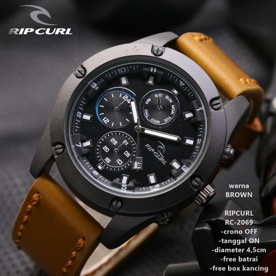 Jam Tangan Pria Fashion Rip Curl Colorado Maverick 3 Hand Chrono Leather Watch Men Beige Ripcurl