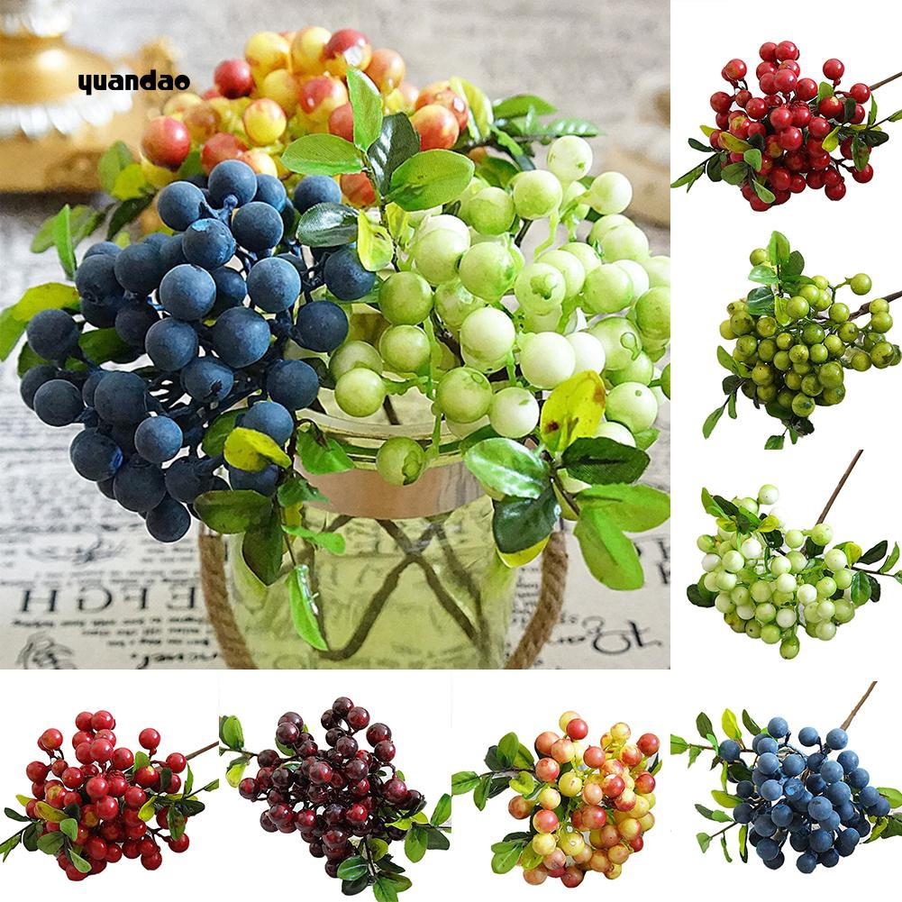 Artificial Lifelike Plant Fruit Berries Branch Wedding Bouquet Table Room Decor