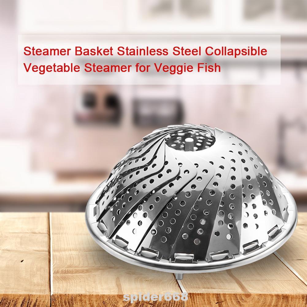 Stainless Steel Steamer Steam Vegetable Foldable Basket Mesh Expandable Cooker L