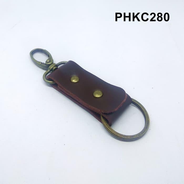 Gantungan kunci kulit sapi asli leather keychain warna coklat PHKC280