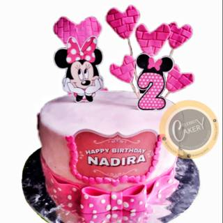 Cake Ultah Fondant Pink Minnie Mouse | Shopee Indonesia