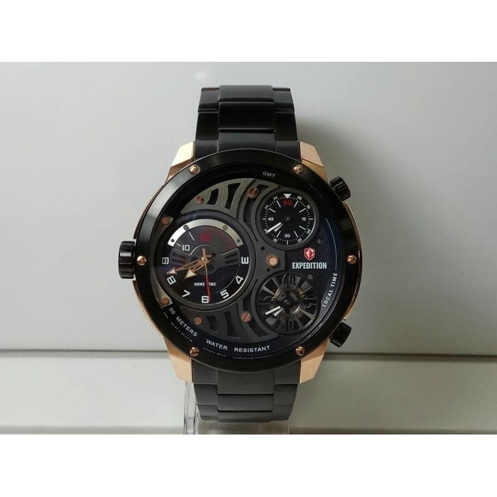 ORIGINAL  JAM TANGAN EXPEDITION MURAH6742 PRIA TRIPLE TIME ROSEGOLD BLACK  ORIGINAL  a69387f13a