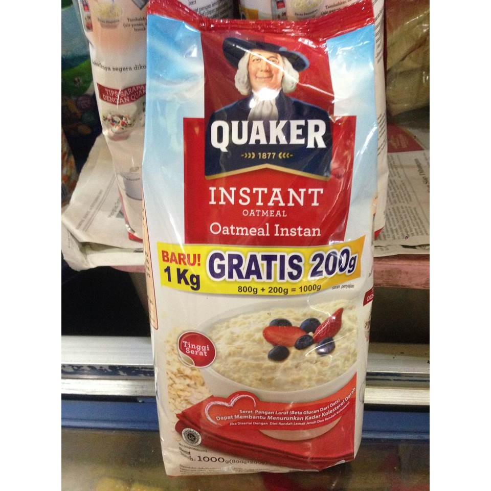 Quaker Instant Oatmeal Merah 1 Kg Gratis 200 Gr Oat Meal Cereal