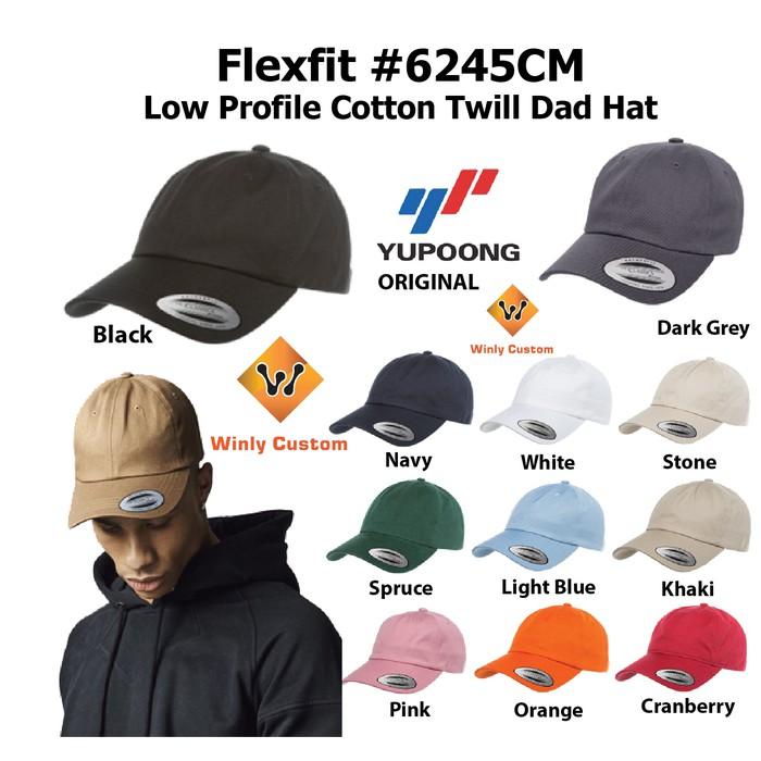 Topi Flexfit Yupoong 6245CM Low Profile Cotton Twill Dad Hat ... 83f5b1b3dec6