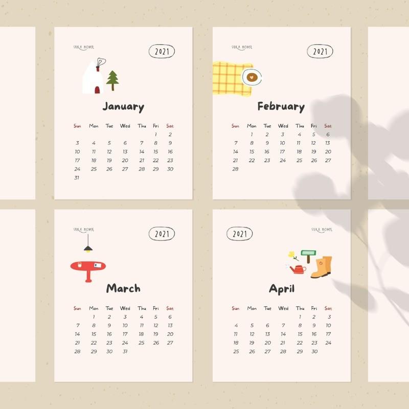 "Kalender meja lucu 2021 gaya korea motif kartun "" Suka ..."