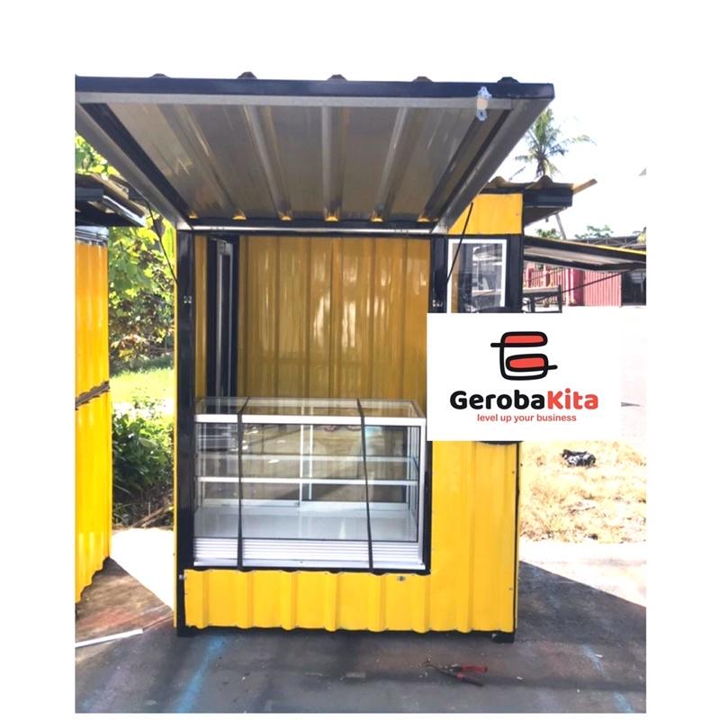 Booth container dengan etalase kaca /gerobak kontainer etalase / booth counter pulsa / gerobak pulsa