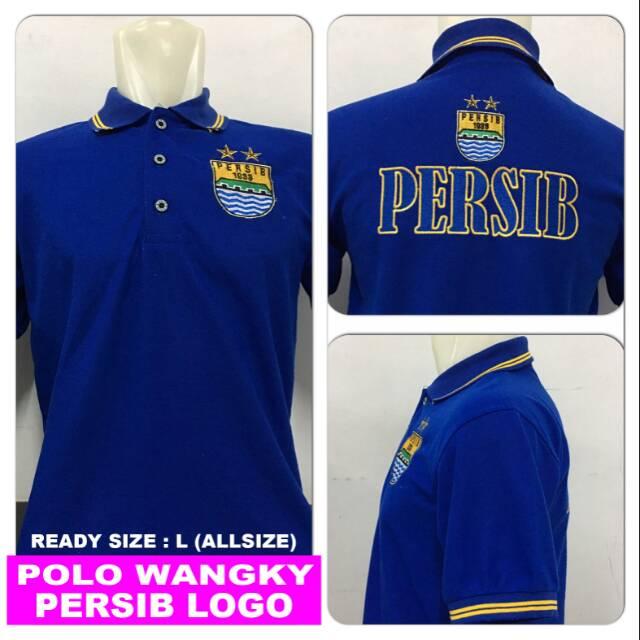 Kaos polo wangky persib logo biru pakaian pria