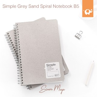 Simple Grey Sand Spiral Notebook B5 / Buku catatan garis kotak titik elegan unik murah