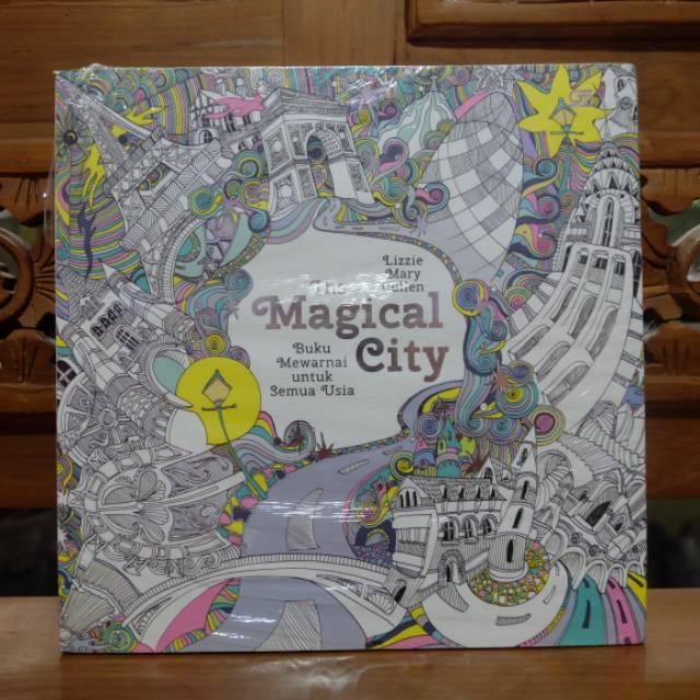 Buku Menggambar Mewarnai Dewasa Coloring Books Import Magical City Terapi