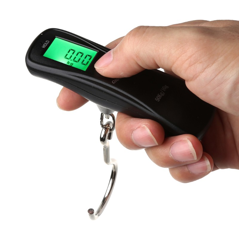 10g~50kg//110lb Portable Digital LCD Hanging Fishing Luggage Weighing Hook Scale