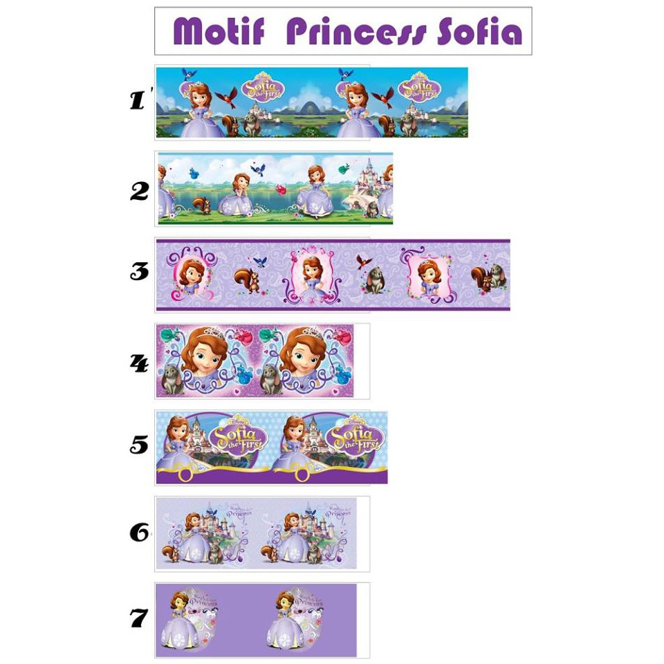 Wallborder Wallpaper Dinding Tembok Roll Princess Sofia Ungu 12mx10cm