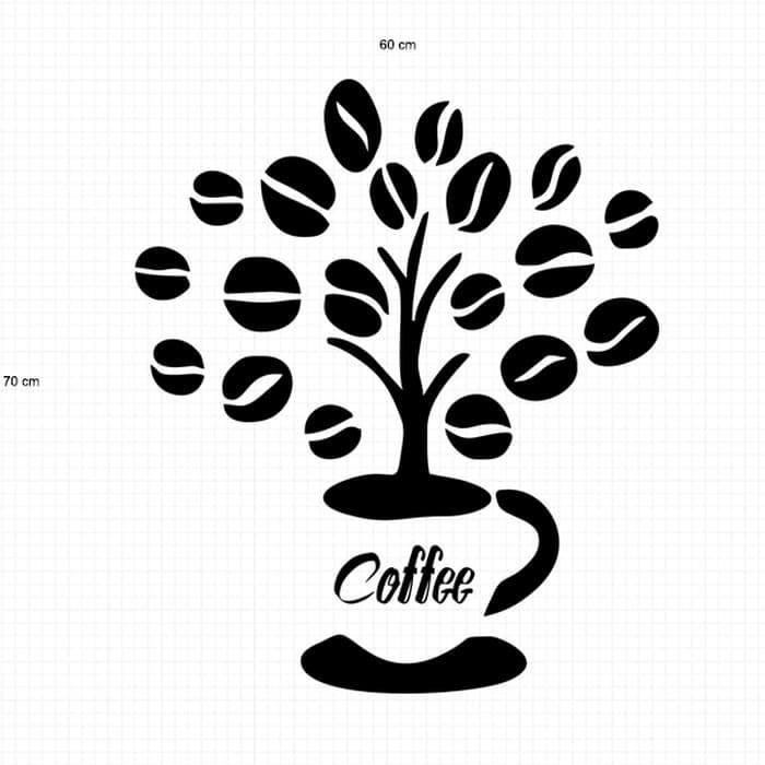 Gambar Kedai Kopi Hitam Putih Stiker Pohon Kopi Coffee Toko Cafe Kaca Dinding Jendela Sticker