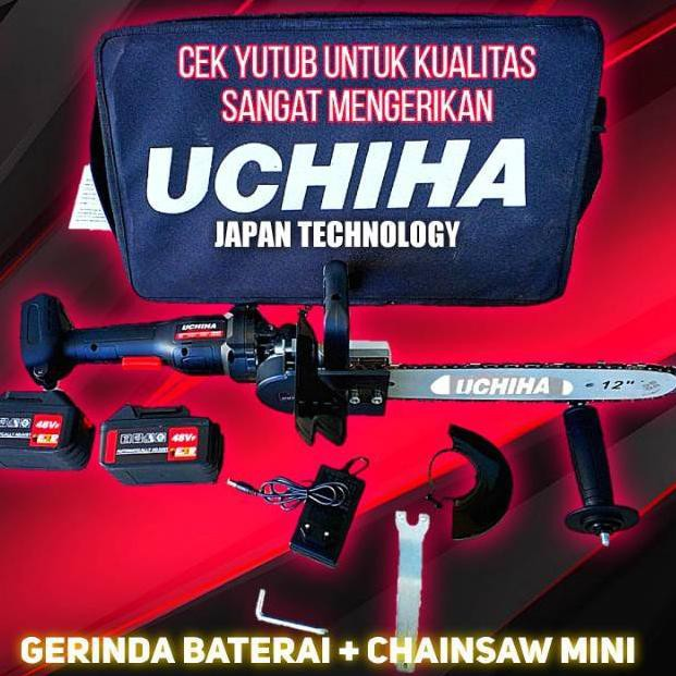 Promo Mesin Gerinda Tangan Baterai Angle Grinder Set Chainsaw Mini Uchiha Japan Technology (ART. 136